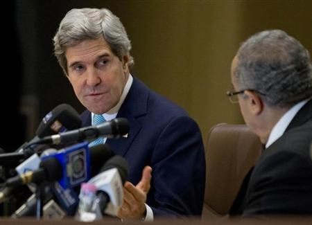 U.S. Secretary of State Kerry makes opening remarks at the start of a U.S.-Algeria Strategic Dialogue with Algerian Foreign Minister Lamamra in Algiers