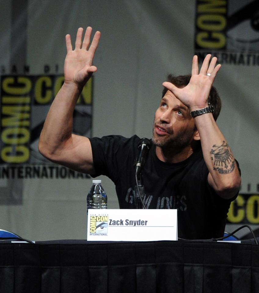 """SAN DIEGO, CA - JULY 14:  Director Zack Snyder speaks at Warner Bros. Pictures and Legendary Pictures preview """"Man Of Steel"""" during Comic-Con International 2012 at San Diego Convention Center on July 14, 2012 in San Diego, California.  (Photo by Kevin Winter/Getty Images)"""
