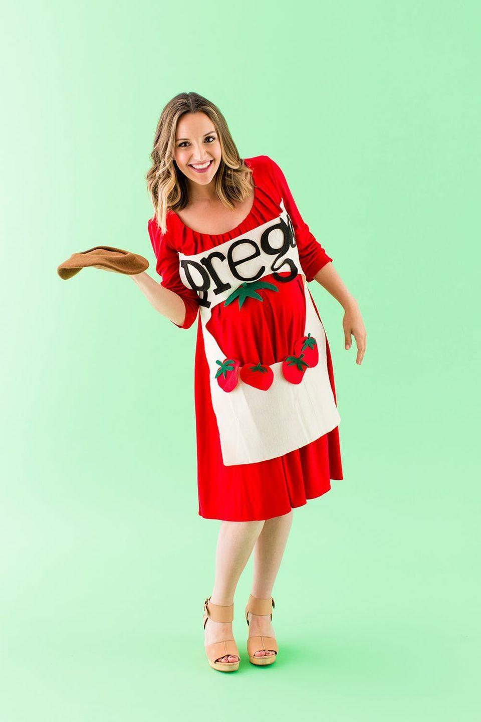 """<p>What better maternity Halloween costume than a can of Prego?</p><p><strong>Get the tutorial at <a href=""""https://www.brit.co/8-easy-diy-halloween-maternity-costumes/"""" rel=""""nofollow noopener"""" target=""""_blank"""" data-ylk=""""slk:Brit & Co."""" class=""""link rapid-noclick-resp"""">Brit & Co.</a></strong></p><p><a class=""""link rapid-noclick-resp"""" href=""""https://www.amazon.com/Mother-Bee-Womens-Maternity-Pockets/dp/B07BB334SJ/?tag=syn-yahoo-20&ascsubtag=%5Bartid%7C10050.g.4972%5Bsrc%7Cyahoo-us"""" rel=""""nofollow noopener"""" target=""""_blank"""" data-ylk=""""slk:SHOP RED DRESS"""">SHOP RED DRESS</a> </p>"""
