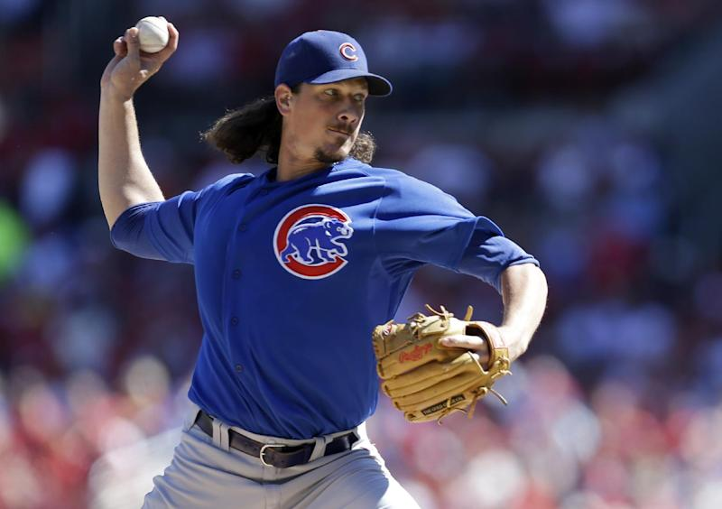 Chicago Cubs starting pitcher Jeff Samardzija throws during the first inning of a baseball game against the St. Louis Cardinals, Sunday, Sept. 29, 2013, in St. Louis. (AP Photo/Jeff Roberson)