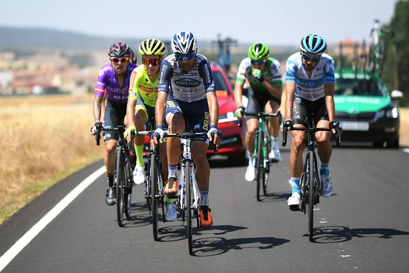 LAGUNAS DE NEILA SPAIN AUGUST 01 Mauro Finetto of Italy and Team Nippo Delko Provence Daniel Navarro Garcia of Spain and Team Israel StartUp Nation Breakaway during the 42nd Vuelta a Burgos 2020 Stage 5 a 158km stage from Covarrubias to Lagunas de Neila 1872m VueltaBurgos on August 01 2020 in Lagunas de Neila Spain Photo by David RamosGetty Images