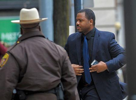 Officer William Porter arrives at the courthouse in Baltimore
