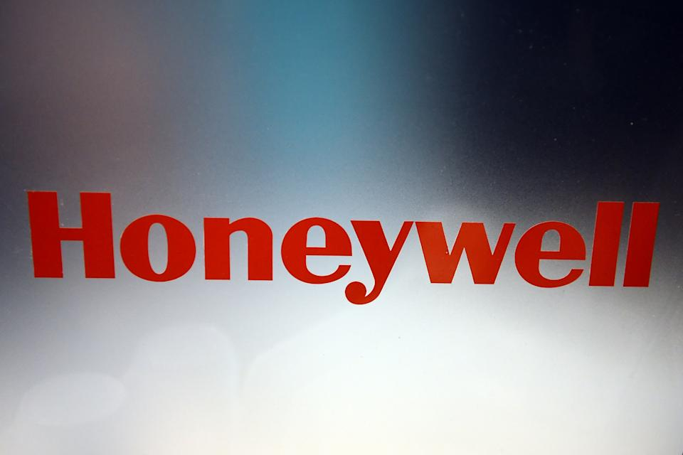The logo of company Honeywell is pictured at the event 'Unveiled' which is part of the consumer electronics show CES in Las Vegas, USA, 05 January 2014. The trade fair will take place from 07 till 10 January 2014. Photo: BRITTA PEDERSEN/dpa | usage worldwide   (Photo by Britta Pedersen/picture alliance via Getty Images)