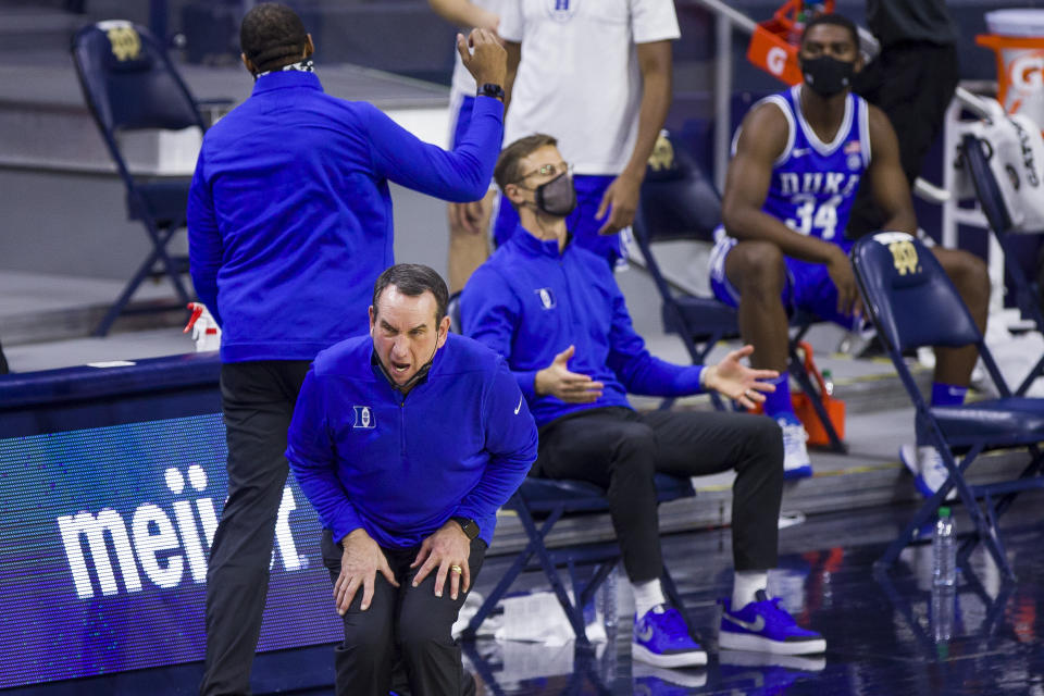 Duke head coach Mike Krzyzewski reacts after a turnover during an NCAA college basketball game against Notre Dame on Wednesday, Dec. 16, 2020, in South Bend, Ind. Duke won 75-65. (AP Photo/Robert Franklin)