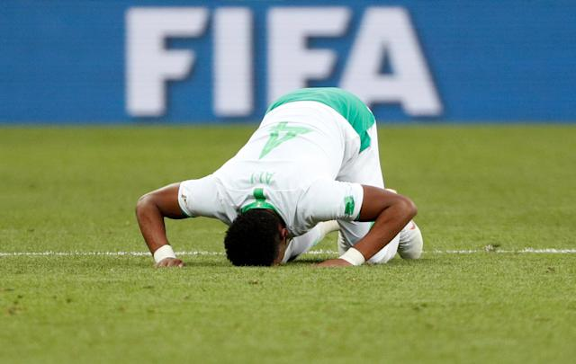 Soccer Football - World Cup - Group A - Uruguay vs Saudi Arabia - Rostov Arena, Rostov-on-Don, Russia - June 20, 2018 Saudi Arabia's Ali Al-Bulaihi looks dejected after the match REUTERS/Max Rossi