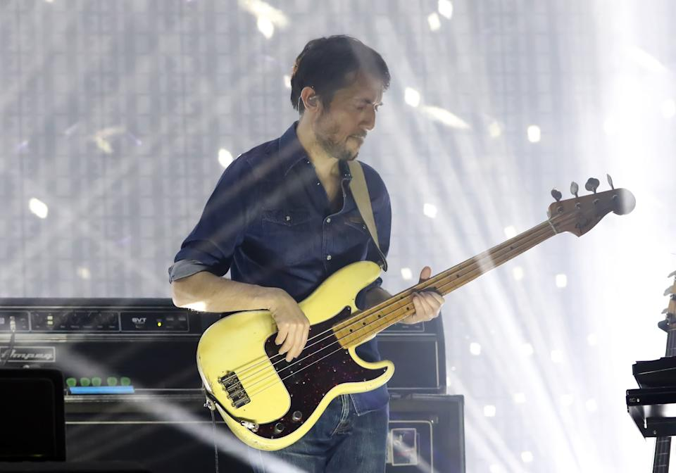 Colin Greenwood of the band Radiohead is seen performing at the AmericanAirlines Arena on March 30, 2017 in Miami, Florida.  (Photo by Alexander Tamargo/Getty Images)