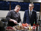 """<p>The host is notorious for wandering around the kitchen and asking contestants questions—which they <a href=""""https://tv.avclub.com/what-it-s-like-to-compete-in-the-chopped-kitchen-1798277081"""" rel=""""nofollow noopener"""" target=""""_blank"""" data-ylk=""""slk:have to answer"""" class=""""link rapid-noclick-resp"""">have to answer</a>, while, you know, still focusing on their dish and getting everything finished on time. But don't blame Ted! When asked why he does this on <a href=""""https://www.foodnetwork.com/fn-dish/shows/2013/05/ted-allen-talks-to-fans-of-chopped-on-facebook"""" rel=""""nofollow noopener"""" target=""""_blank"""" data-ylk=""""slk:Facebook"""" class=""""link rapid-noclick-resp"""">Facebook</a>, he said: """"Because mean producers make me!""""</p>"""