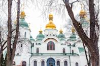 """<p>Kiev's Saint Sophia's Cathedral was designed to rival the famous Hagia Sophia in Constantinople (modern-day Istanbul), symbolizing """"the new Constantinople"""" and widespread conversion of Orthodox faith throughout Russia from the 17th to 19th centuries. Saint Sophia's Cathedral is regarded as an architectural monument of the 11th century and houses the largest collection of the century's mosaics and frescoes.</p>"""