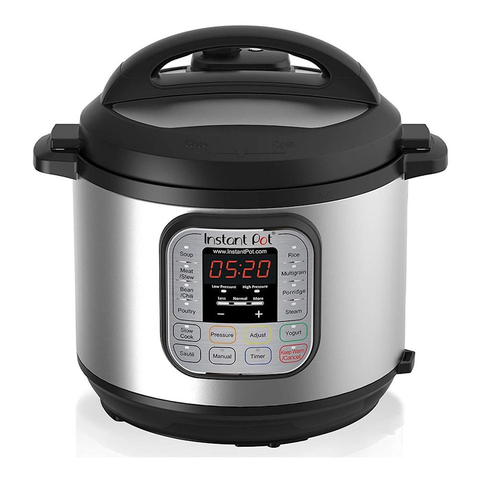 "<p><strong>Instant Pot</strong></p><p>amazon.com</p><p><strong>$49.99</strong></p><p><a href=""http://www.amazon.com/dp/B00FLYWNYQ/?tag=syn-yahoo-20&ascsubtag=%5Bartid%7C2089.g.27965170%5Bsrc%7Cyahoo-us"" target=""_blank"">Shop Now</a></p><p><strong>Average Rating:</strong> 4.5 stars<br><strong>Number of Reviews</strong>: 34,000<br><br>With the ability to perform seven different culinary tasks, including cooking rice, steaming, sautéing, and making yogurt, the Instant Pot Duo 6-quart pressure cooker is basically the only kitchen appliance you'll ever need.</p><p><strong>More:</strong> <a href=""https://www.bestproducts.com/appliances/small/a14410015/reviews-best-hot-air-fryers/"" target=""_blank"">Cook Healthier with These Top-Rated Air Fryers</a> </p>"