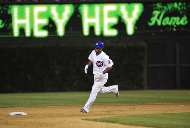 CHICAGO, IL - JUNE 16: Luis Valbuena #24 of the Chicago Cubs runs the bases after hitting a three-run homer in the seventh inning against the Boston Red Sox on June 16, 2012 at Wrigley Field in Chicago, Illinois. (Photo by David Banks/Getty Images)