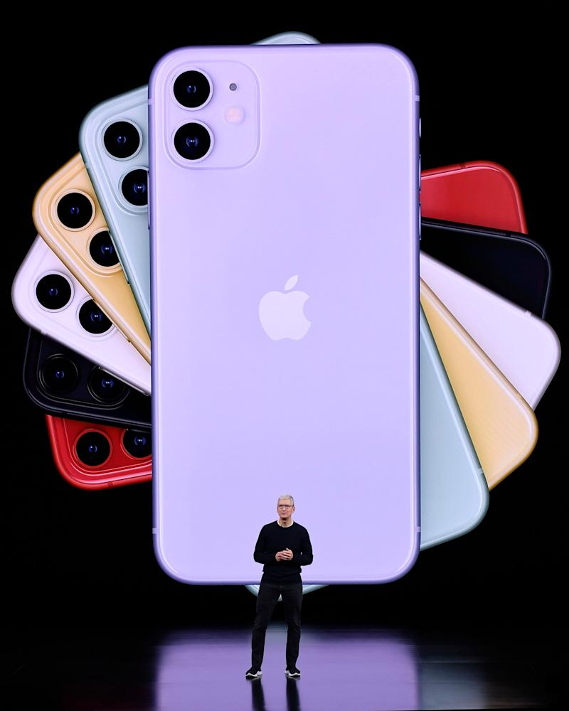 Apple CEO Tim Cook delivers the keynote address during an Apple launch event on September 10, 2019 in Cupertino, California.