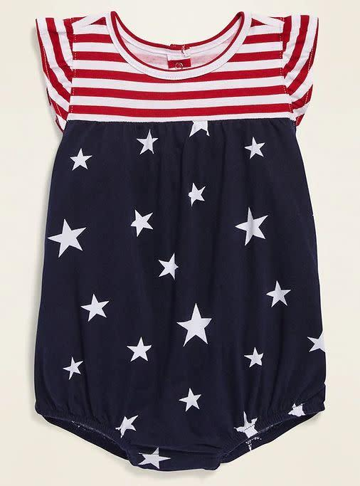 "Find this baby one-piece for $10 at <a href=""https://yhoo.it/2YH5jtF"" rel=""nofollow noopener"" target=""_blank"" data-ylk=""slk:Old Navy."" class=""link rapid-noclick-resp"">Old Navy.</a>"