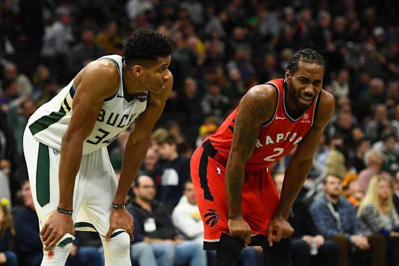 Giannis Antetokounmpo and Kawhi Leonard will battle for Eastern Conference supremacy in more ways than one. (Getty Images)