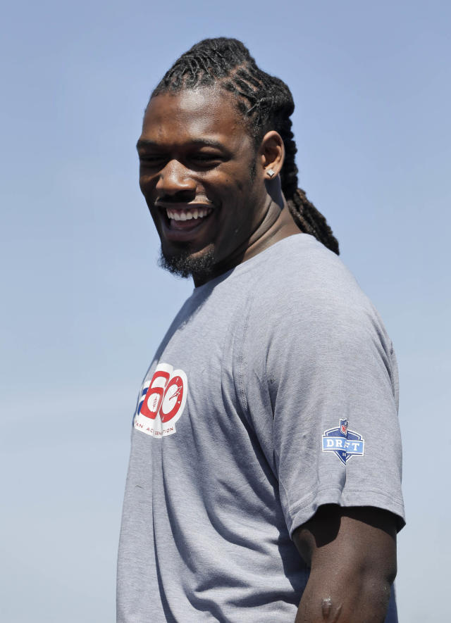 South Carolina's Jadeveon Clowney smiles during an NFL football event in New York, Wednesday, May 7, 2014. The event was to promote Play 60, an NFL program which encourages kids to be active for a healthy life. (AP Photo/Seth Wenig)