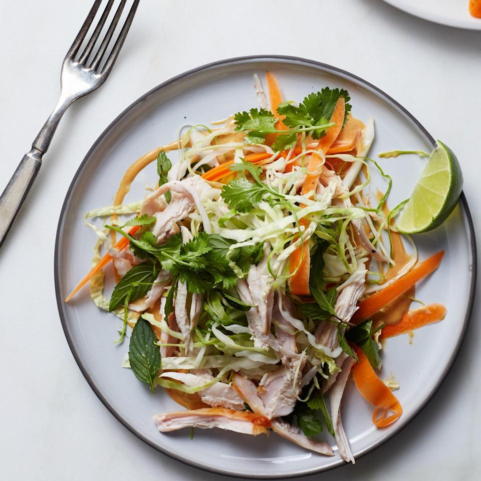 """Skip the usual sandwich, make this your midnight snack after Thanksgiving day activities have wound down. <a href=""""https://www.epicurious.com/recipes/food/views/crunchy-turkey-salad-with-peanut-dressing-51255510?mbid=synd_yahoo_rss"""" rel=""""nofollow noopener"""" target=""""_blank"""" data-ylk=""""slk:See recipe."""" class=""""link rapid-noclick-resp"""">See recipe.</a>"""