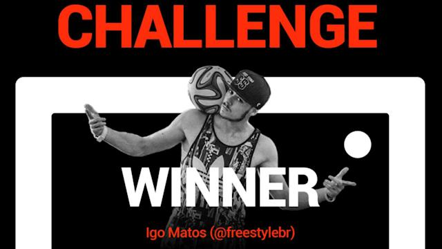Igo Matos's mind-blowing shot was chosen by both the public and members of the GOALSTUDIO freestyle football ambassadors