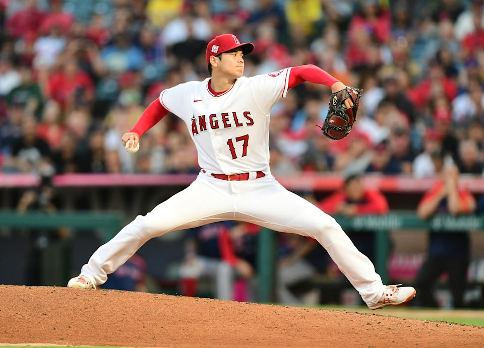 ANAHEIM, CA - JULY 06: Los Angeles Angels pitcher Shohei Ohtani (17) pitching during the sixth inning of a game against the Boston Red Sox played on July 6, 2021 at Angel Stadium in Anaheim, CA. (Photo by John Cordes/Icon Sportswire via Getty Images)