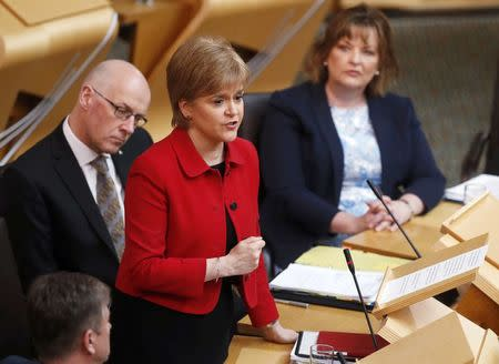 Scotland's First Minister Nicola Sturgeon attends a debate on a second referendum on independence at Scotland's Parliament in Holyrood, Edinburgh
