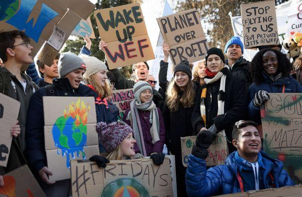 PHOTO: Swedish climate activist Greta Thunberg, center, takes part in a 'Friday for future' youth demonstration in Davos, Switzerland, Jan. 24, 2020 on the sideline of the World Economic Forum (WEF) annual meeting. (Fabrice Coffrini/AFP via Getty Images)