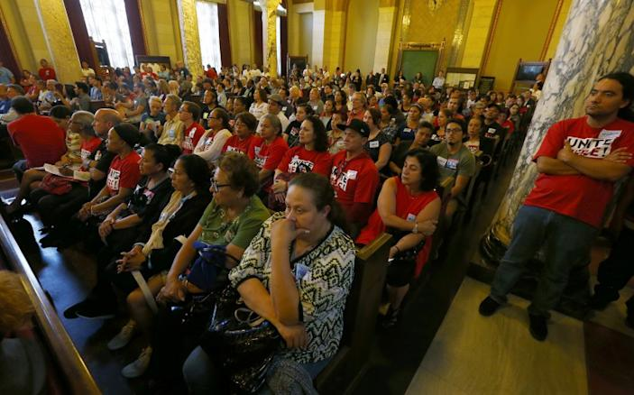 """Crowds packed meetings at L.A. City Hall on short-term rentals, including this 2016 Planning Commission hearing. <span class=""""copyright"""">(Luis Sinco / Los Angeles Times)</span>"""
