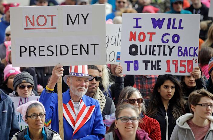"""<p>Demonstrators hold a rally on Feb. 20, 2017, in Salt Lake City. The rally is one of several """"Not My President's Day"""" protests planned across the country to mark the Presidents' Day holiday. Protesters are criticizing President Trump's immigration policies, among other things. (AP Photo/Rick Bowmer) </p>"""