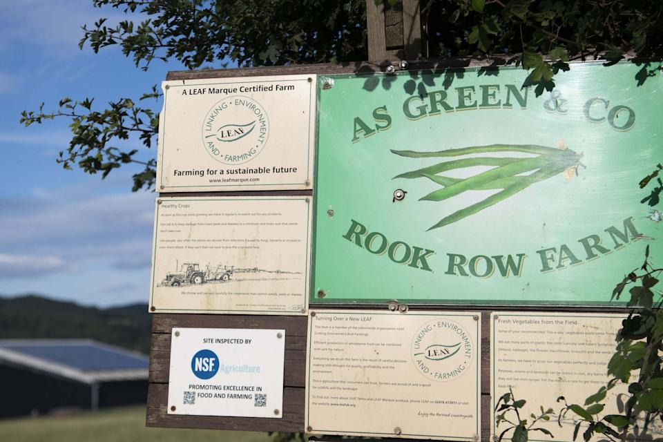 A close-up of a sign at the entrance to the AS Green and Co farm (Getty Images)