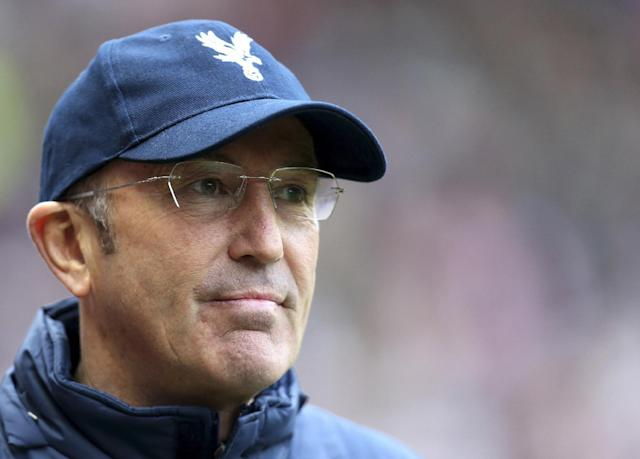 FILE - This is a Saturday, March 15, 2014 file photo of Crystal Palace's manager Tony Pulis as he awaits the start of their English Premier League soccer match against Sunderland at the Stadium of Light, Sunderland, England. The new English Premier League season starts on Saturday Aug. 16, 2014 (AP Photo/Scott Heppell, File)