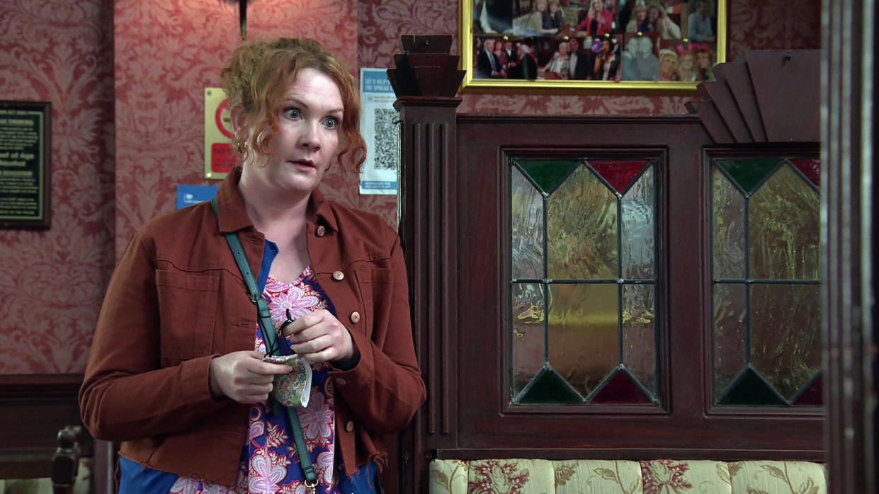 FROM ITV  STRICT EMBARGO  -  No Use Before Tuesday 1st June 2021   Coronation Street - Ep 10347  Wednesday 9th June 2021 - 2nd Ep  Reading a message from the bank, a riled Fiz Stape [JENNIE McALPINE] approaches Adam Barlow [SAM ROBERTSON], revealing she needs his help.    Picture contact David.crook@itv.com   This photograph is (C) ITV Plc and can only be reproduced for editorial purposes directly in connection with the programme or event mentioned above, or ITV plc. Once made available by ITV plc Picture Desk, this photograph can be reproduced once only up until the transmission [TX] date and no reproduction fee will be charged. Any subsequent usage may incur a fee. This photograph must not be manipulated [excluding basic cropping] in a manner which alters the visual appearance of the person photographed deemed detrimental or inappropriate by ITV plc Picture Desk. This photograph must not be syndicated to any other company, publication or website, or permanently archived, without the express written permission of ITV Picture Desk. Full Terms and conditions are available on  www.itv.com/presscentre/itvpictures/terms