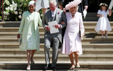 Doria Ragland leaves St George's Chapel with the Duke and Duchess of Cornwall - Credit: PA