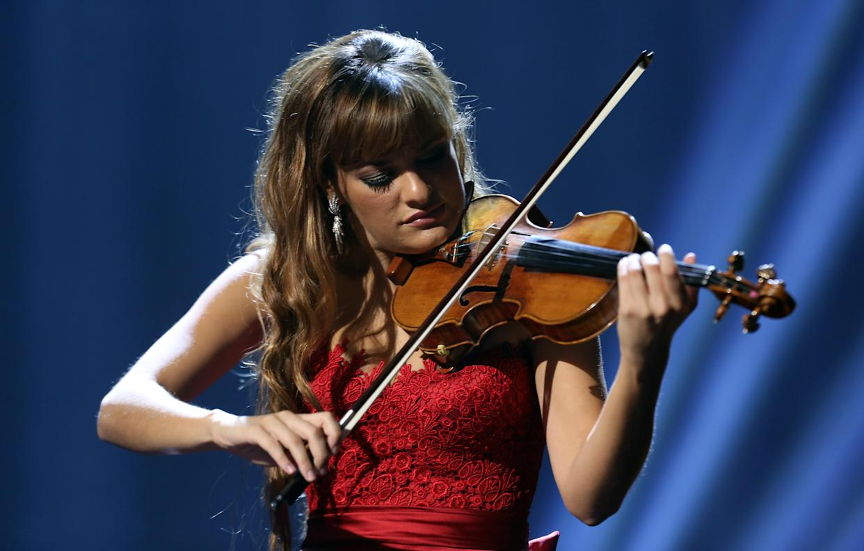 Nicola Benedetti performing at the Royal Albert Hall for the Classical BRIT Awards on Tuesday, October 02, 2012 in London, UK. (Photo by John Marshall JME/Invision/AP)