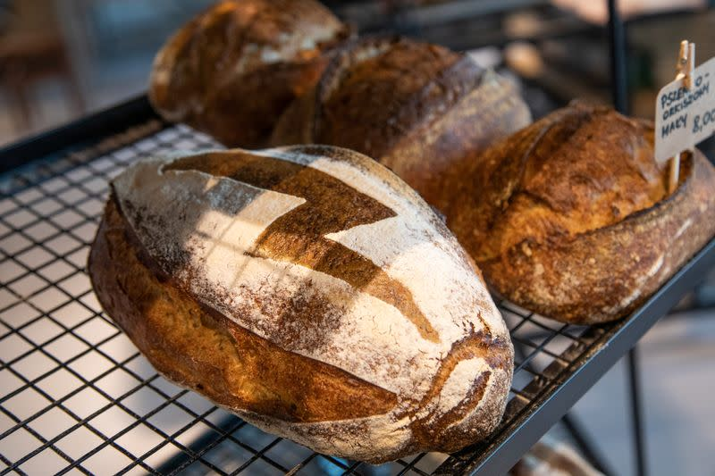 A bakery offers a bread with a bolt sign as a ubiquitous symbol of the protests sweeping across Poland