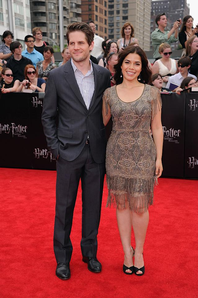 """<a href=""""http://movies.yahoo.com/movie/contributor/1809205457"""">Ryan Piers Williams</a> and <a href=""""http://movies.yahoo.com/movie/contributor/1807809245"""">America Ferrera</a> at the New York City premiere of <a href=""""http://movies.yahoo.com/movie/1810004624/info"""">Harry Potter and the Deathly Hallows - Part 2</a> on July 11, 2011."""
