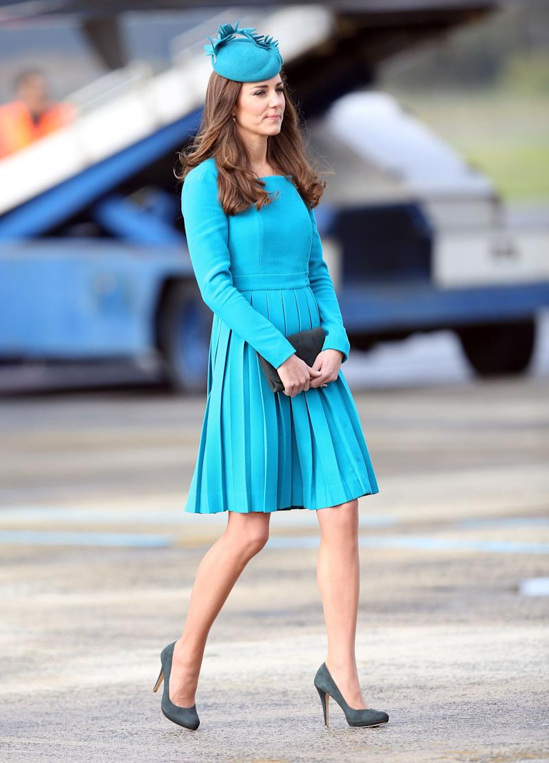 Kate was a standout in a pleated Emilia Wickstead dress as she arrived in Dunedin, New Zealand on April 13, 2014.