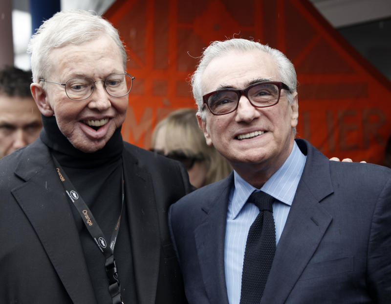 U.S. film critic Roger Ebert, left, and U.S. film director Martin Scorsese during the 62nd International film festival in Cannes, southern France, Friday, May 15, 2009. (AP Photo/Matt Sayles)