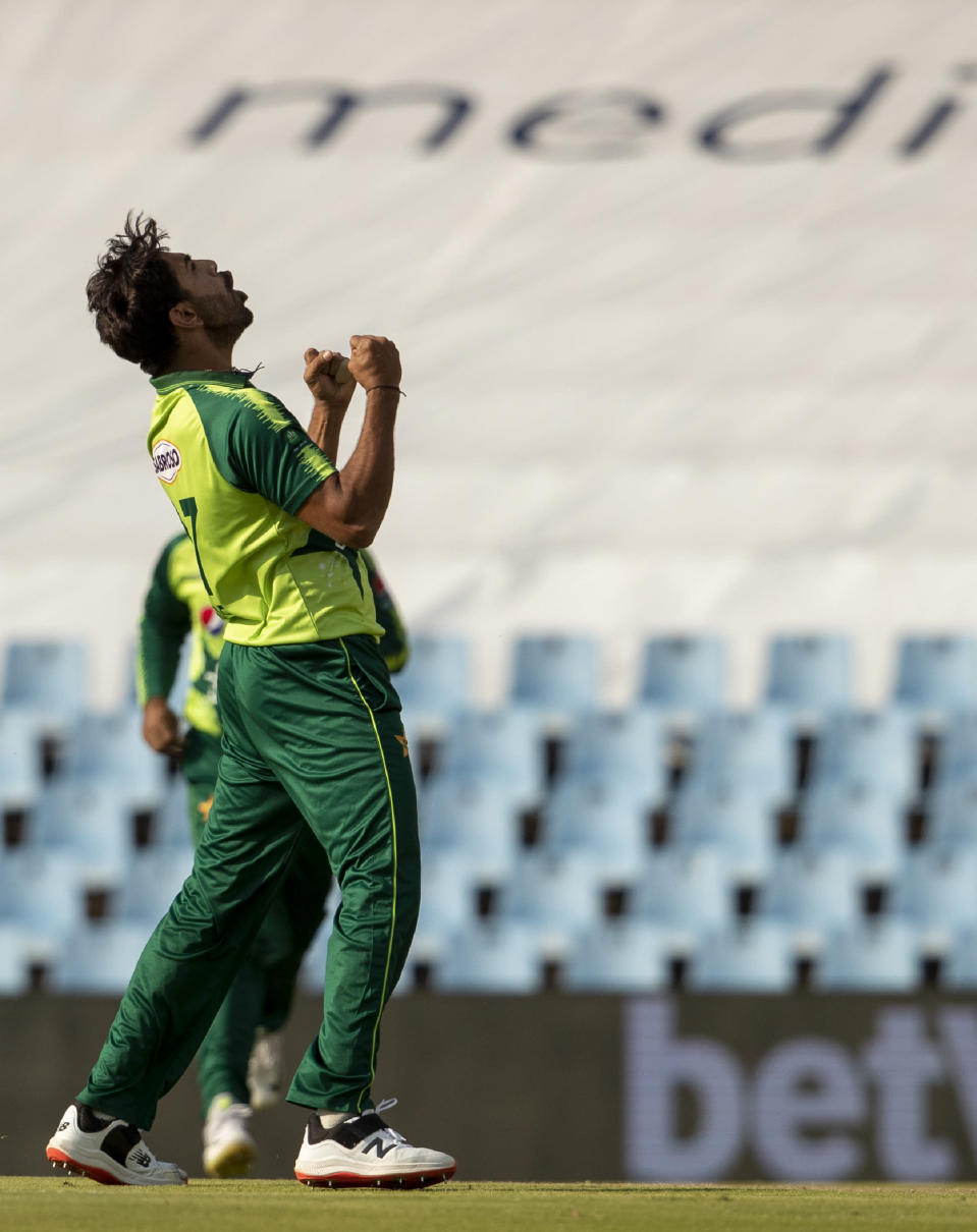 Pakistan's bowler Haris Rauf celebrates after dismissing South Africa's batman Rassie van der Dussen for 52 runs during the fourth and final T20 cricket match between South Africa and Pakistan at Centurion Park in Pretoria, South Africa, Friday, April 16, 2021. (AP Photo/Themba Hadebe)