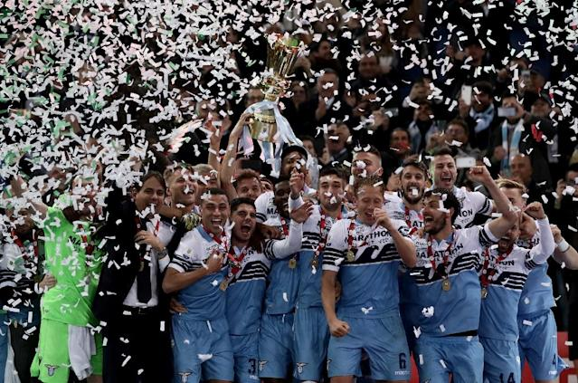 Lazio booked their ticket to the Europa League by lifting the Coppa Italia. (AFP Photo/Isabella BONOTTO)