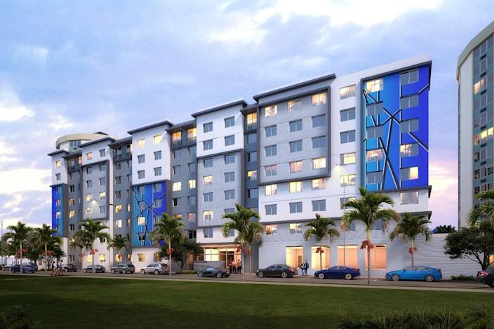 Architectural rendering of Brisas del Este, a new affordable housing building to be developed by The Related Urban Development Group inside an Opportunity Zone in Allapattah.