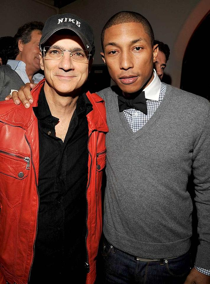 """Music exec Jimmy Iovine and rapper Pharrell Williams show off their original style. Lester Cohen/<a href=""""http://www.wireimage.com"""" target=""""new"""">WireImage.com</a> - December 5, 2007"""