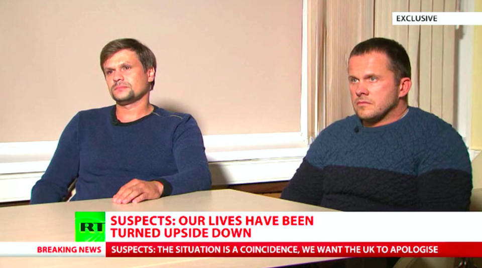 <em>Ruslan Boshirov (left) and Alexander Petrov have insisted they were simply being tourists in Salisbury (PA/RT)</em>