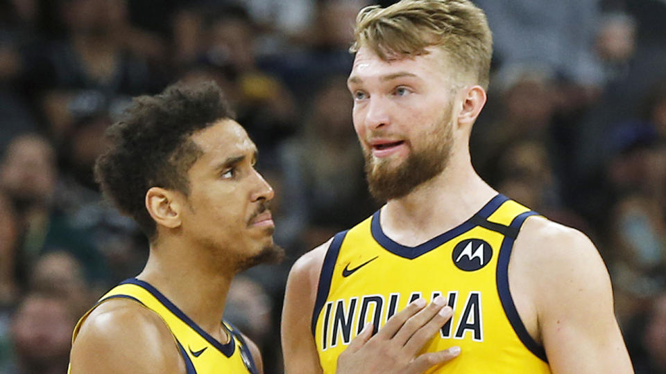 The Pacers have surprisingly held trade discussions surrounding point guard Malcolm Brogdon and power forward Domantas Sabonis. (Photo by Ronald Cortes/Getty Images)