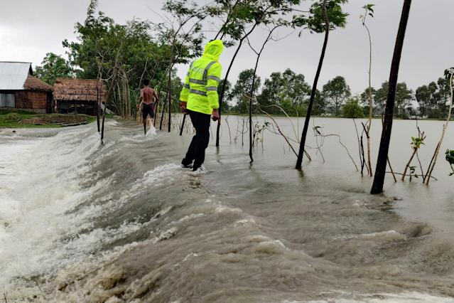 """Photo shows the impact of cyclone Amphan in the Khulna district, some 200 km from Dhaka, Bangladesh. Bangladesh on Wednesday raised its storm danger signal to the highest level of 10 as """"very severe"""" cyclone Amphan formed in the Bay of Bengal is heading towards its coastlines. (Photo by Str/Xinhua via Getty) (Xinhua/ via Getty Images)"""