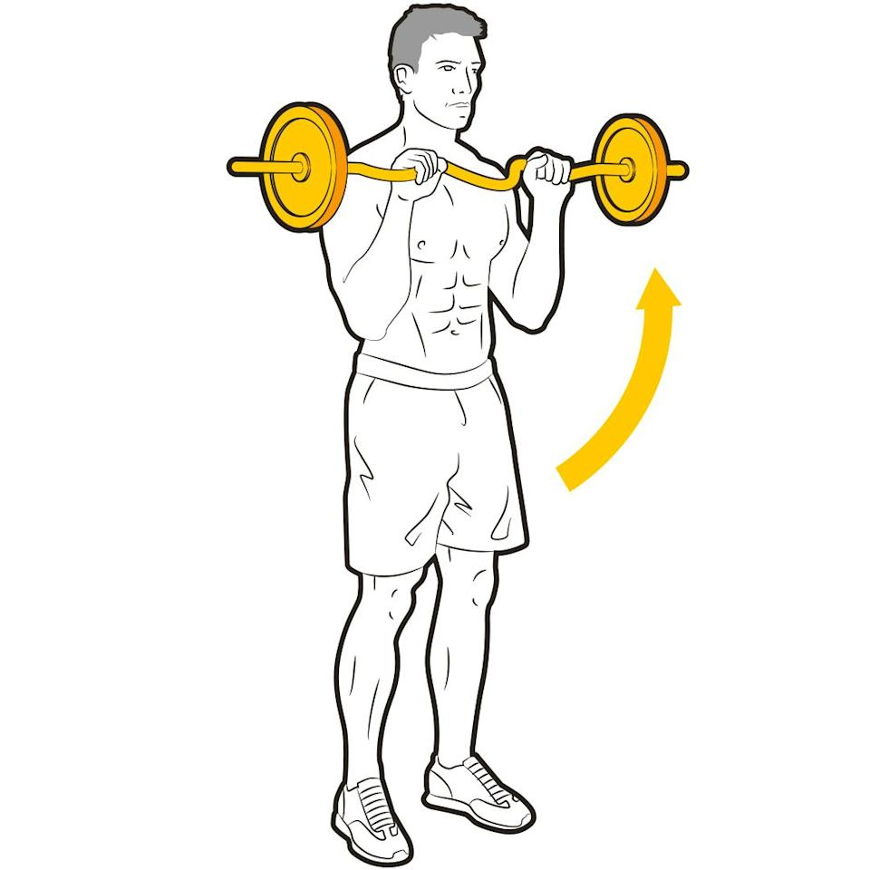 """<p>""""Hitting a few biceps curls might get you jacked, but adding a reverse curl at the end of your routine targets different fibres<br>to add depth to your arms,"""" says Stafford. Grip the bar with your palms down and elbows at your sides. Squeeze the bar up through a full range, then lower. Rest for 60 seconds between sets.</p>"""