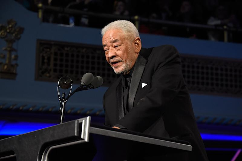 CLEVELAND, OH - APRIL 18: Bill Withers speaks onstage during the 30th Annual Rock And Roll Hall Of Fame Induction Ceremony at Public Hall on April 18, 2015 in Cleveland, Ohio. (Photo by Kevin Mazur/WireImage for Rock and Roll Hall of Fame)