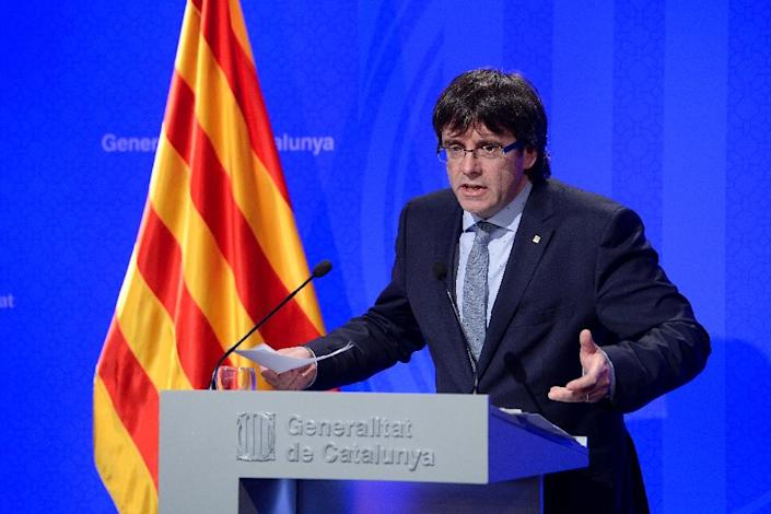 Carles Puigdemont, the president of Spain's Catalonia region, addresses a press conference in Barcelona in April 2016 (AFP Photo/Josep Lago)