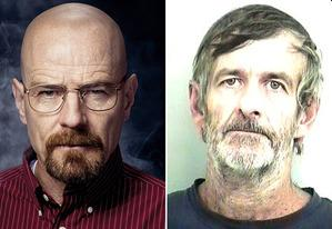 Bryan Cranston as Walter White on Breaking Bad and the real Walter White | Photo Credits: Ben Leuner/AMC; Tuscaloosa County Sheriff's Office