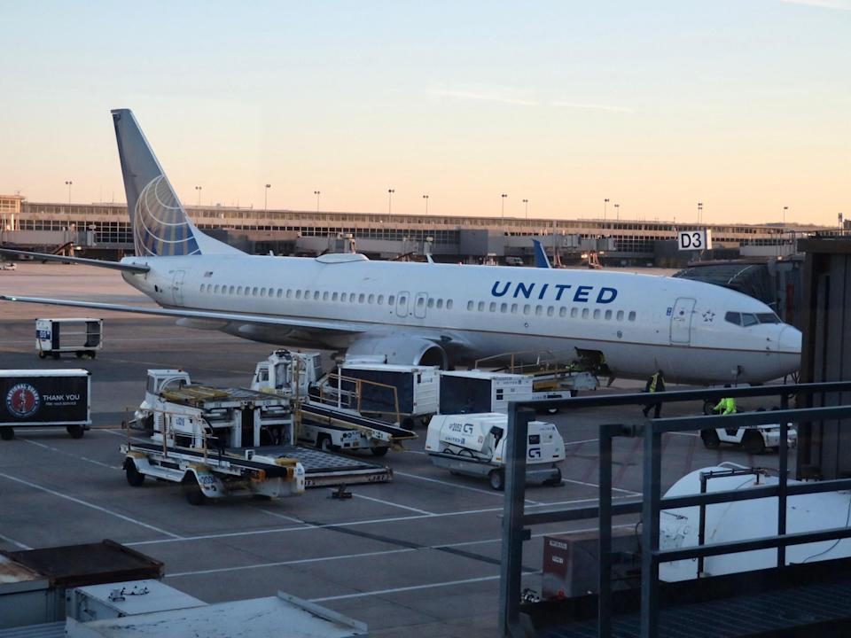A United Airlines plane at the gates of Dulles International Airport in Washington, DC  (AFP via Getty Images)
