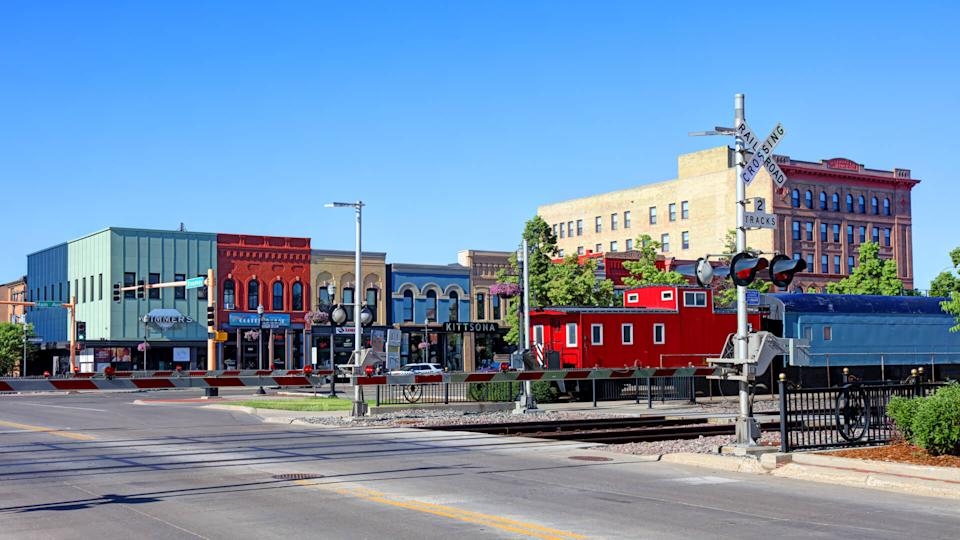 Fargo, North Dakota, USA - June 12, 2017: Daytime view of Fargo's historic Front Street now Main Street in the heart of the downtown district.