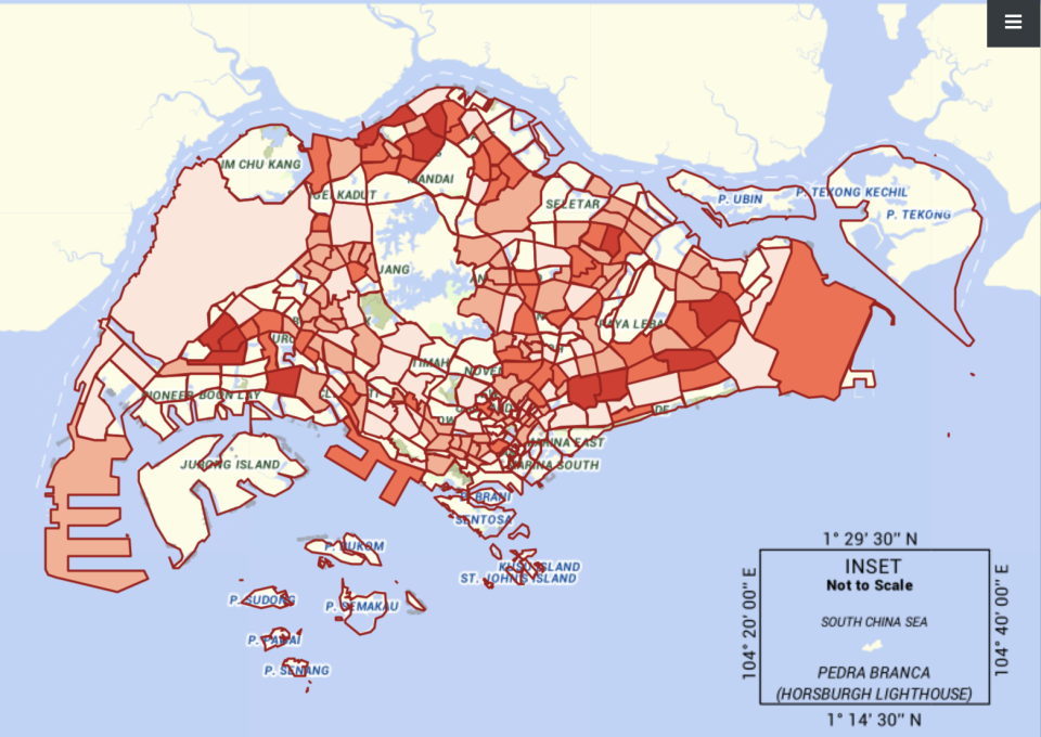 Ministry of Health's new COVID-19 situational map launched on 1 October 2021 indicating the varying concentration of cases frequently visited by them recently across Singapore. (MAP: MOH)