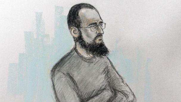 PHOTO: Court artist sketch by Elizabeth Cook of Husnain Rashid in the dock at Westminster Magistrates' Court in London, Dec. 6, 2017. (Elizabeth Cook/PA via AP)