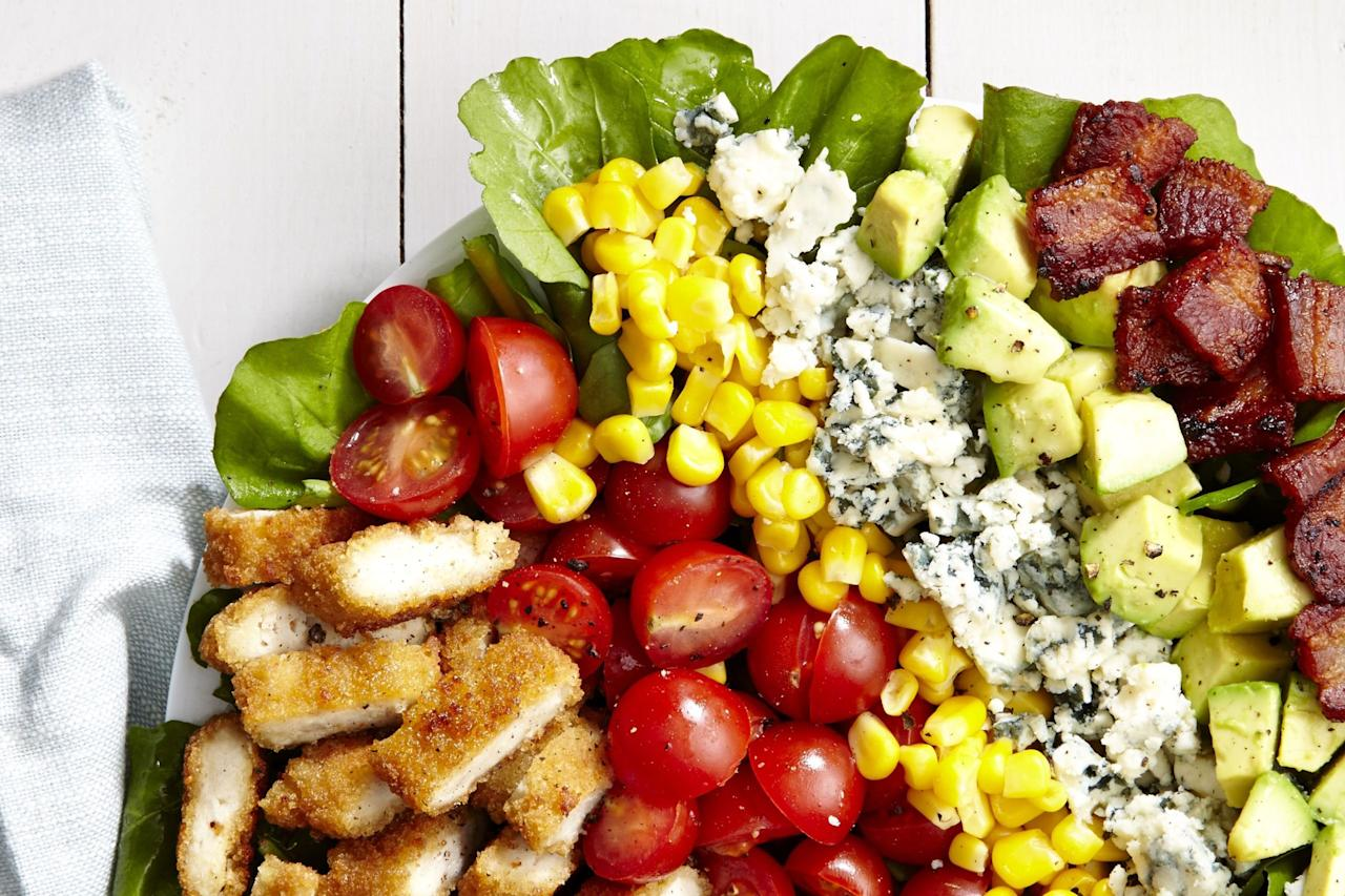 """<p>Up your salad game. Bread your chicken.</p><p>Get the recipe from<span> <a rel=""""nofollow"""" href=""""http://www.delish.com/cooking/recipe-ideas/recipes/a46115/breaded-chicken-cobb-salad-recipe/"""">Delish</a>.</span></p>"""